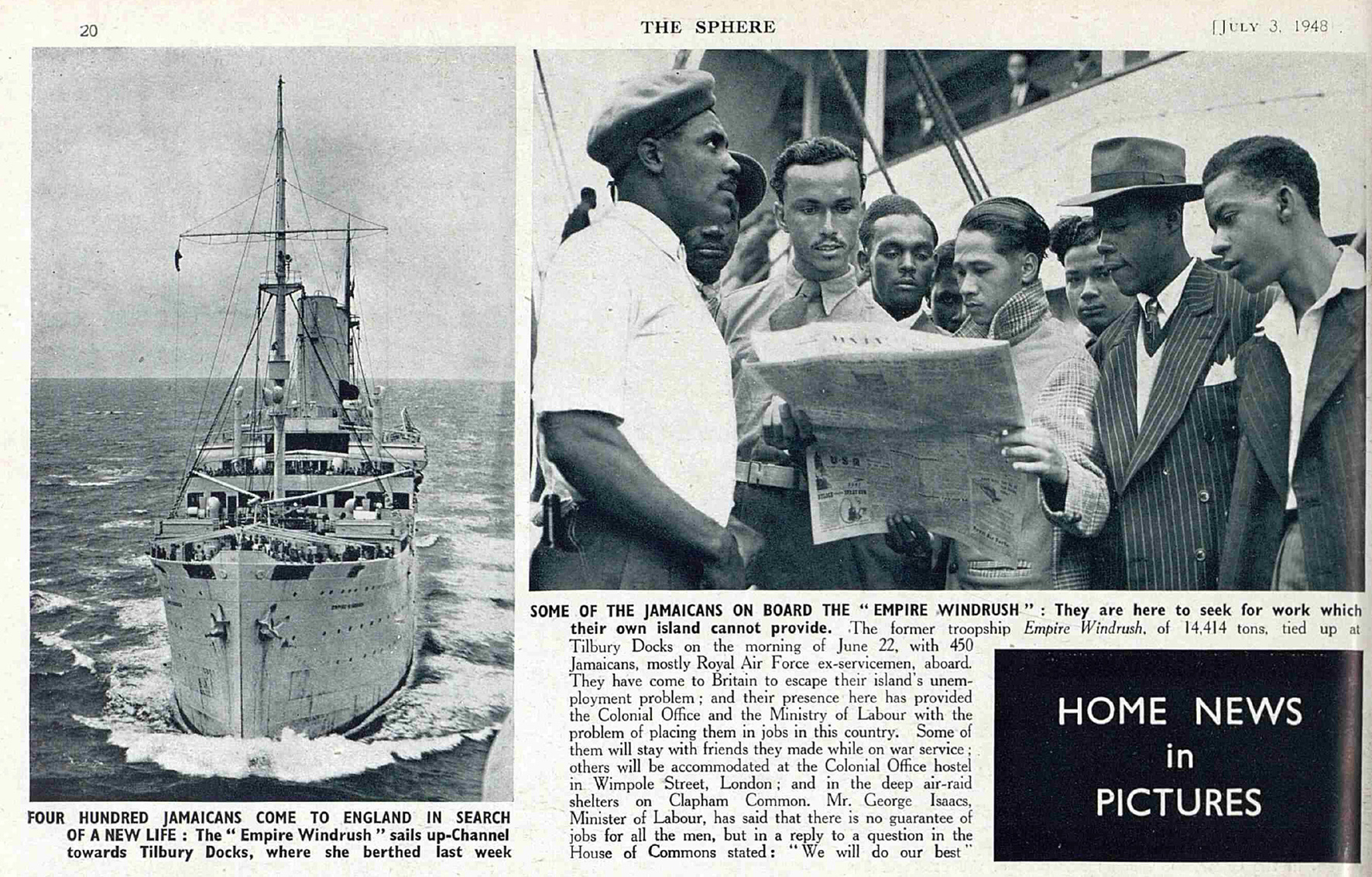 Photograph of people on the Windrush | The Sphere, 3 July 1948