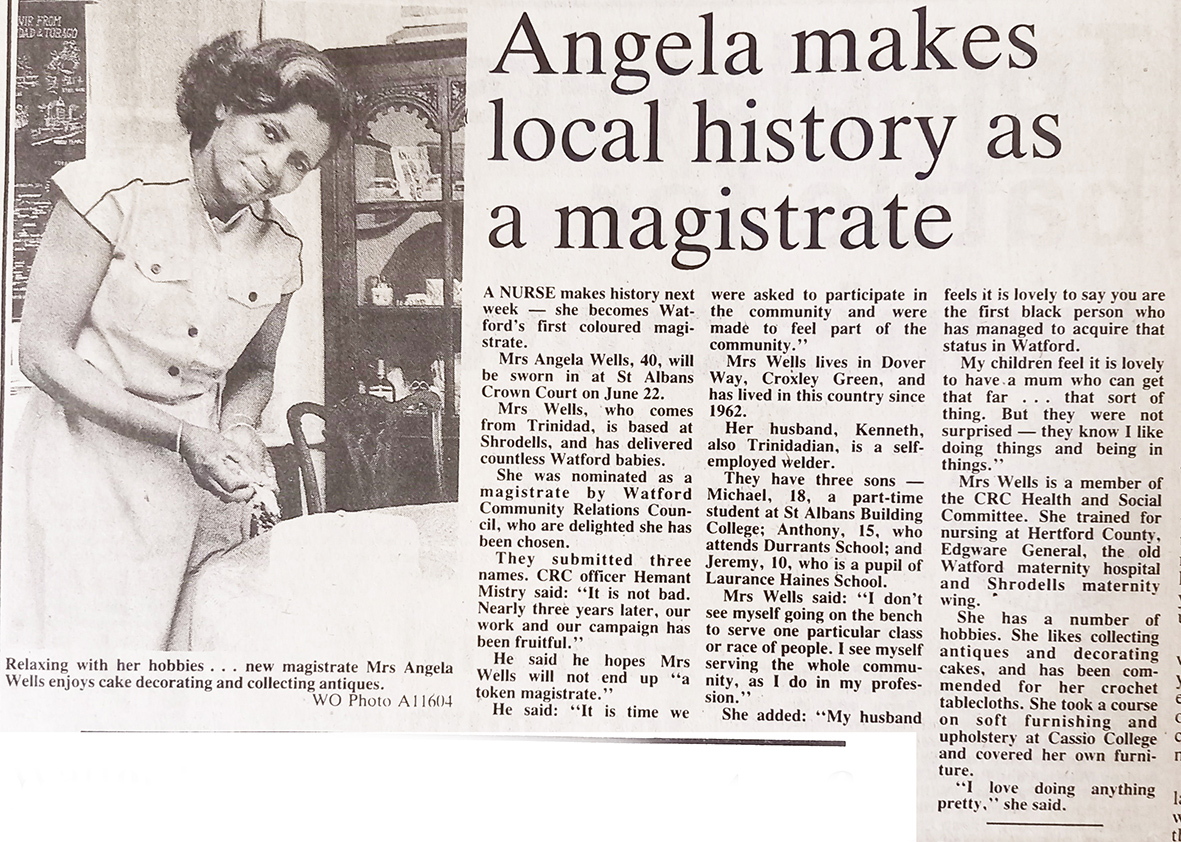 Photograph of Angela Wells in 1984 | West Herts and Watford Observer, 15 June 1984