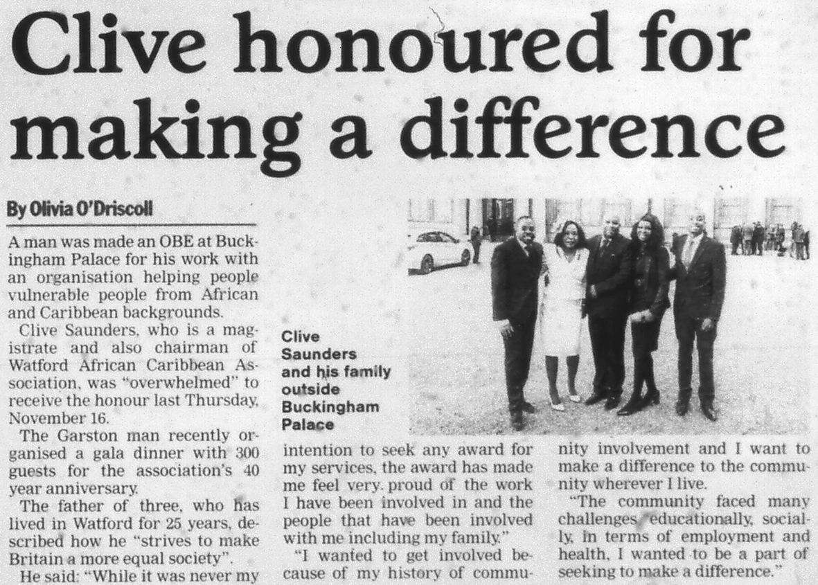 Newspaper report with photo | West Herts and Watford Observer, 24 November 2017