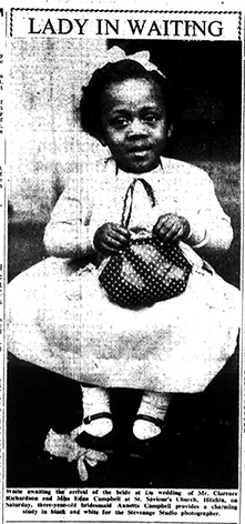 Anetta, 3 year old bridesmaid | Letchworth and Baldock Citizen, 27 January 1961
