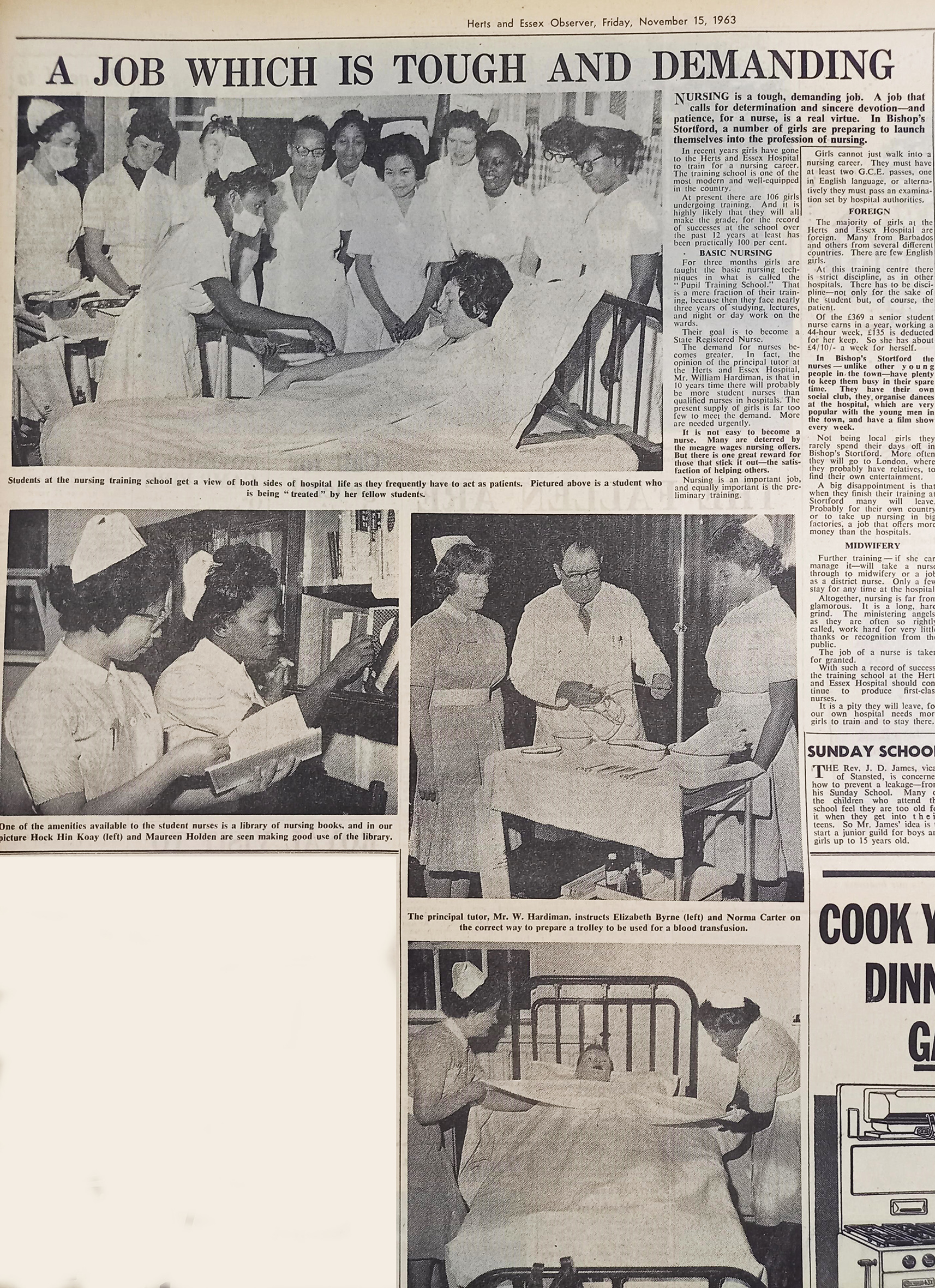 photos of nurses in local newspaper | Herts and Essex Observer, 15 November 1963