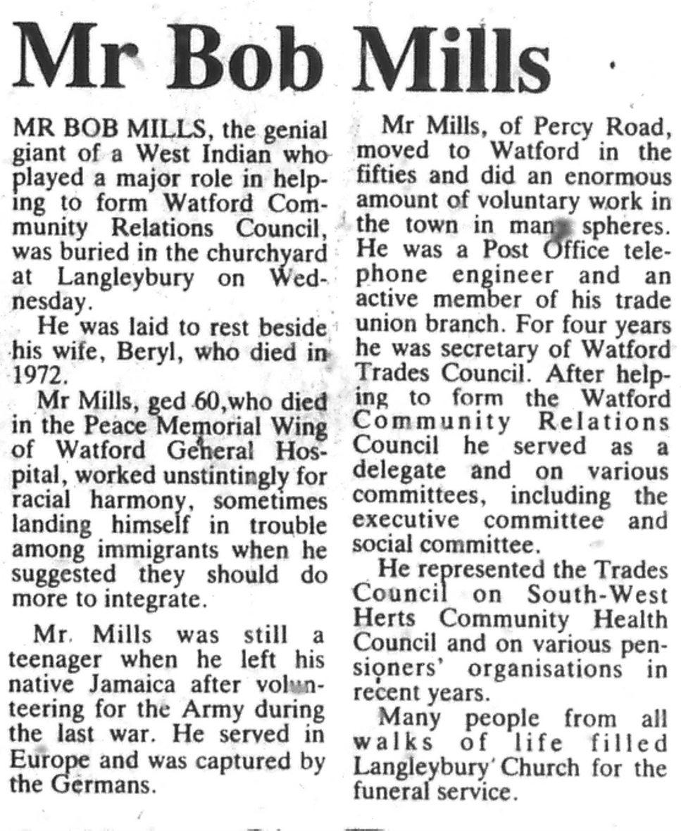 Obituary of Bob Mills | West Herts and Watford Observer, 9 December 1983