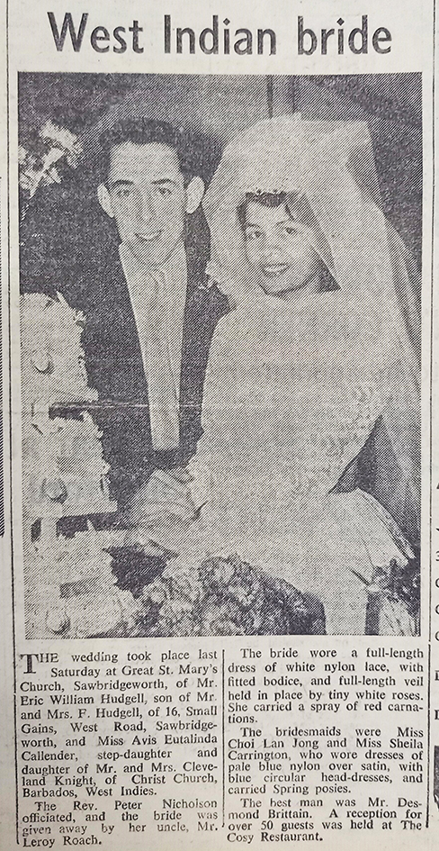 Wedding photo | Herts and Essex Observer, 12 January 1962