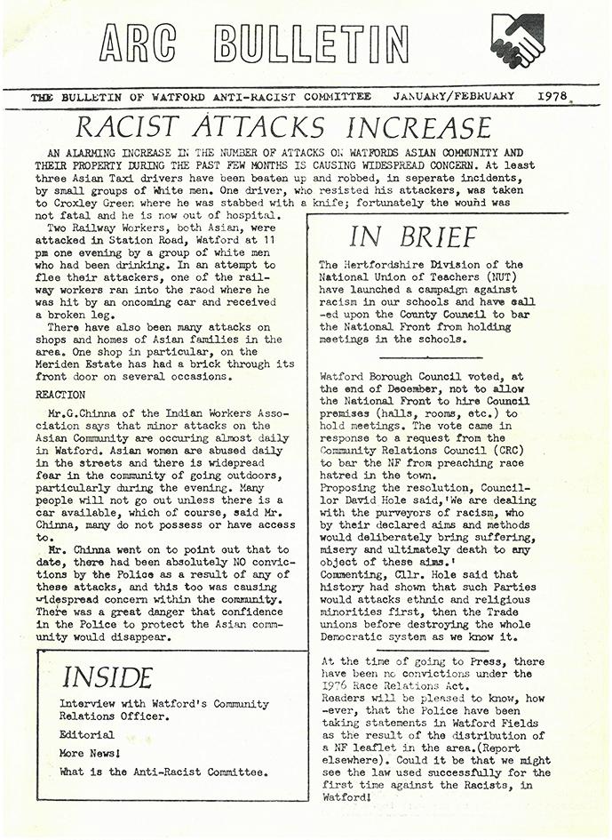 Front page of ARC newsletter, 1978 | HALS (Acc DE/X41/14)