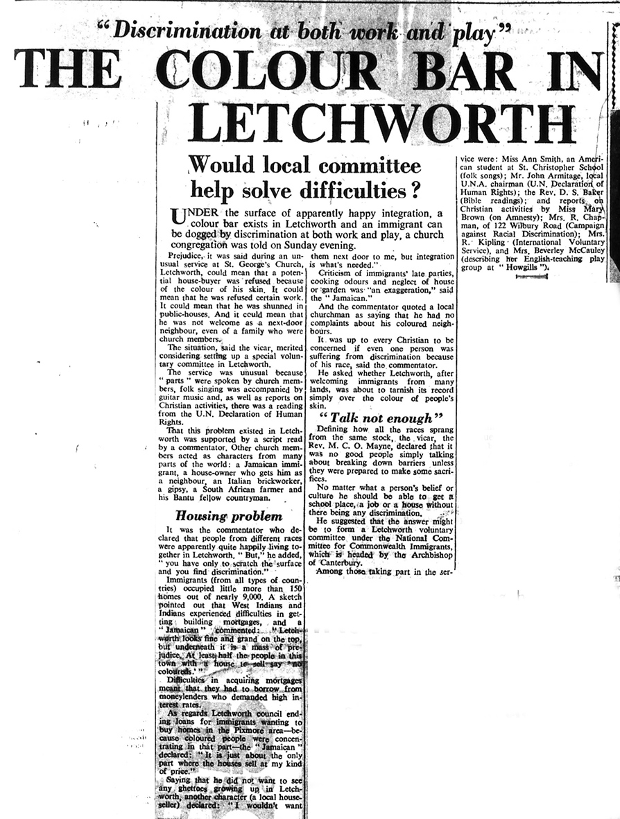 Newspaper article on a colour bar in Letchworth | Herts and Beds Citizen, 10 February 1967