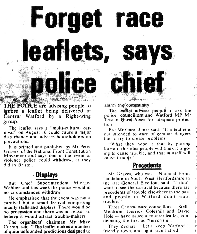 Forget race leaflets say police | West Herts and Watford Observer, 8 August 1980
