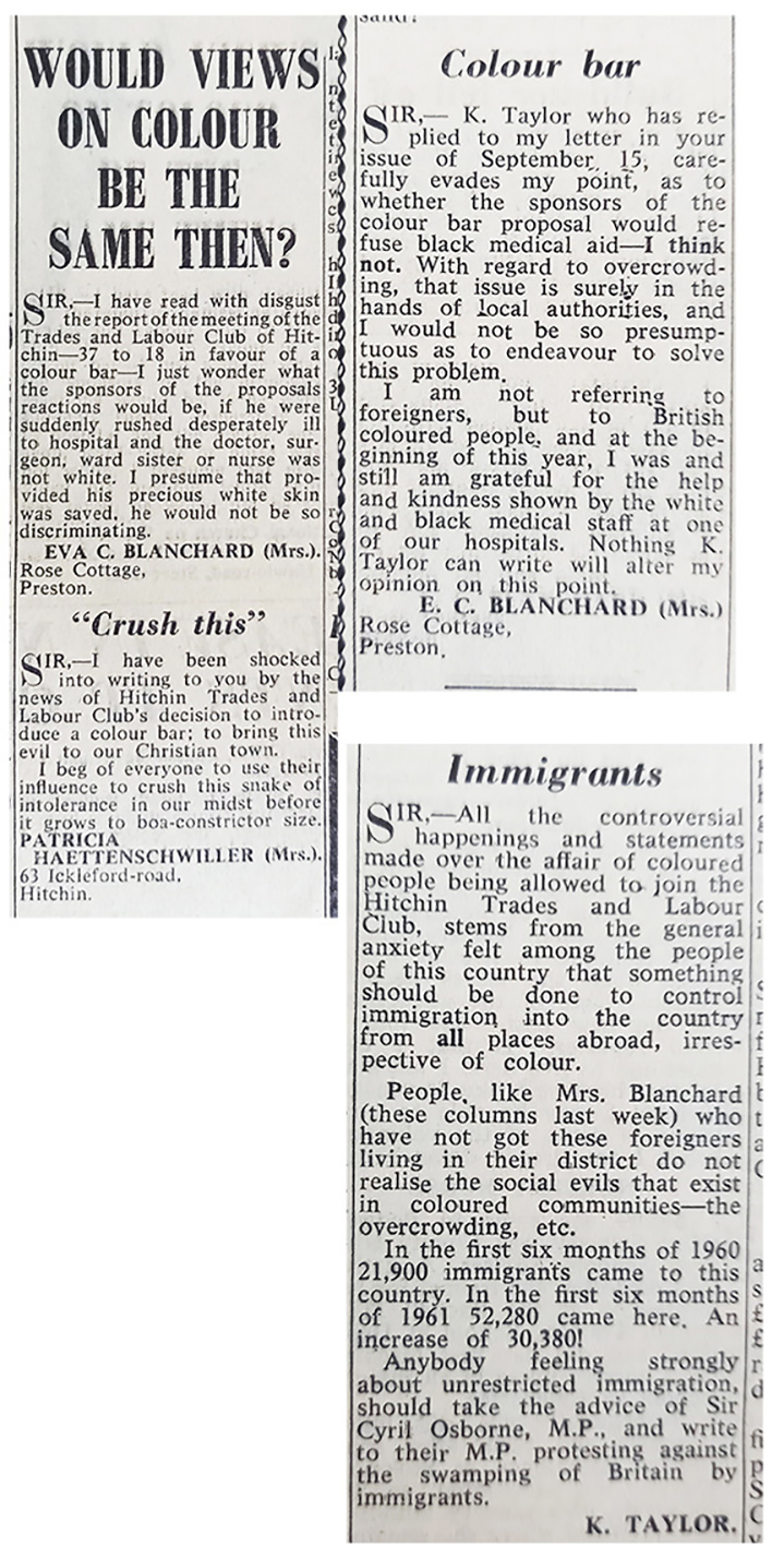Newspaper articles on Hitchin colour bar | Hertfordshire Express, September 1961  (HALS)