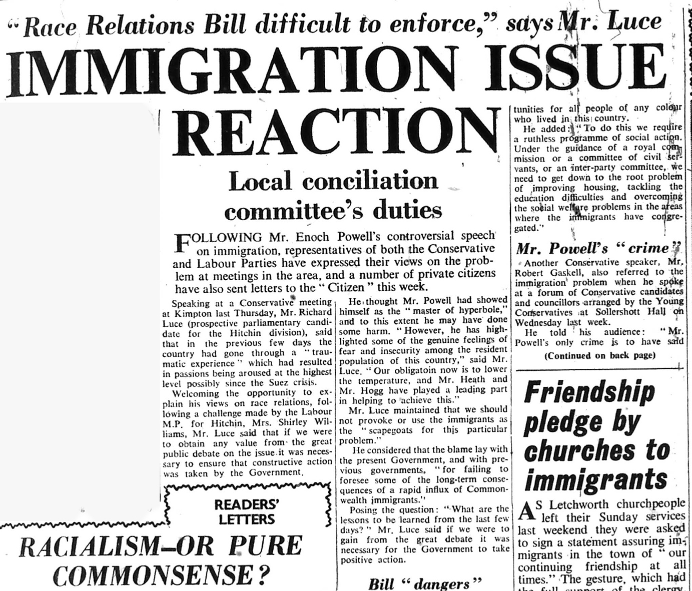 Newspaper articles on immigration issues | Herts and Beds Citizen, 3 May 1968