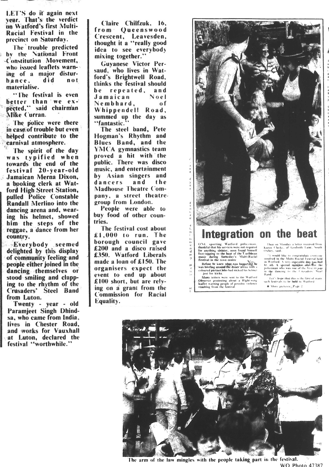 Newspaper reports on Watford Multi Racial Festival success | West Herts and Watford Observer, 22 August 1980