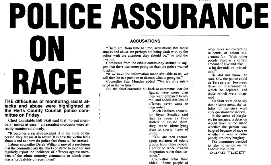 Newspaper article on anti racism | Herts and Essex Observer, 18 October 1990