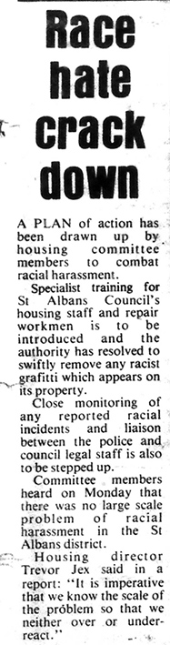 Race hate crakdown newspaper article | St Albans Review, 10 March 1988
