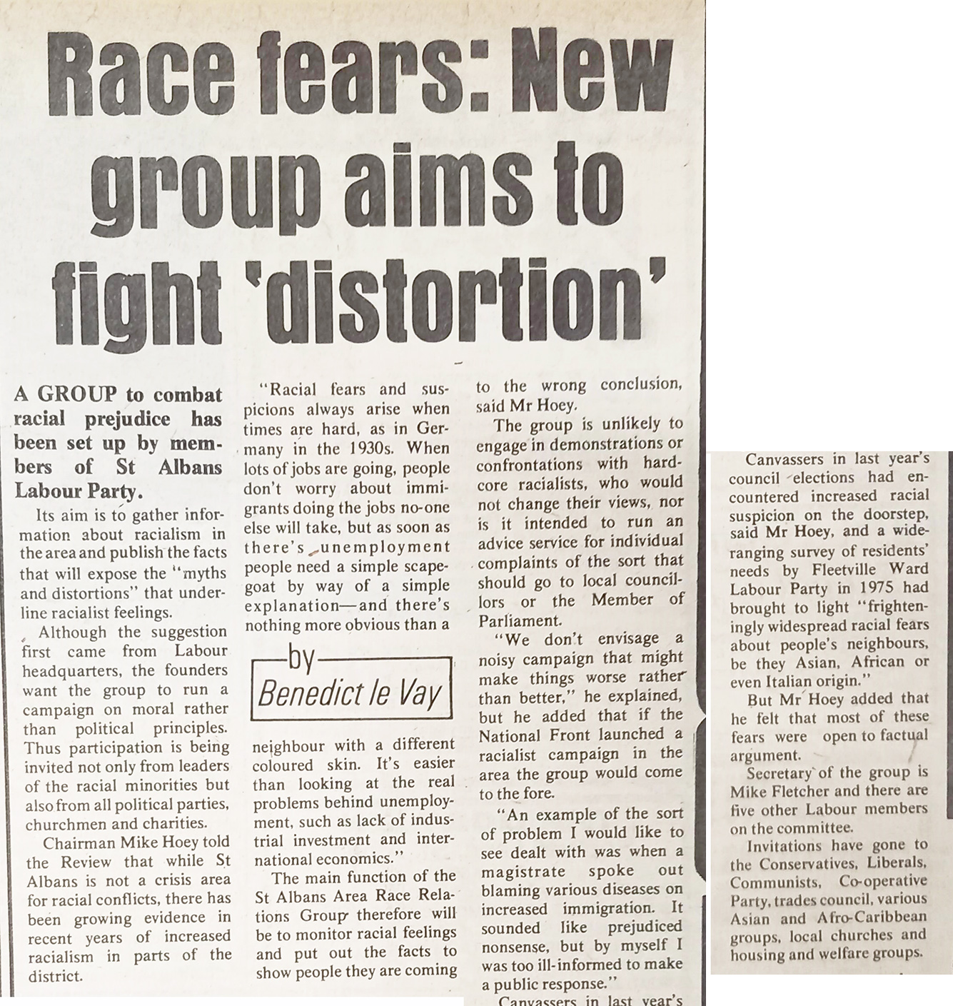 Newspaper article on st albans race relations council | St Albans, Welwyn Garden City and Hatfield Review, 13 January 1977